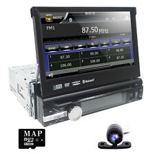 "7"" Car GPS Stereo Single 1 Din MP3 CD DVD Player Bluetooth Radio USB Free Camera"