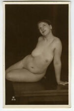 c 1930 French CHUBBY NUDE Beauty risque photo postcard
