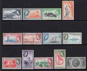 Barbados 1953/61 QE2 Definitives Set of 13 SG 289/301 Cat £75 MNH