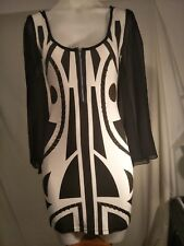 Reverse Ladies Stretch Dress in Black and White with Bronze Beaded Detail Size S