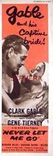 NEVER LET ME GO Original 1953 Film Advert - Clark Gable & Gene Tierney Movie Ad