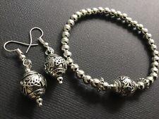 CHUNKY Tibetan SILVER Large Flower Bead Stretch Bracelet And FREE EARRINGS Boho