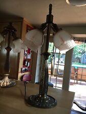 Antique Art Nouveau Two Socket Cast Base Metal Table Lamp Base Flowers and Swirl