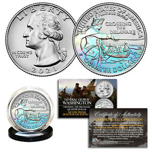 2021 Washington Crossing the Delaware Quarter Genuine U.S. Coin COA - HOLOGRAM