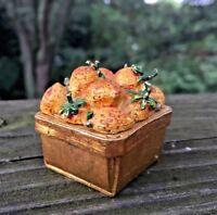 Vintage Made England 2/2 Enamel Gold STRAWBERRY BASKET Trinket Box UNIQUE ❤️j8