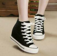 Women Hidden Wedge Heel Canvas High-Top Lace Up Platform Sneakers Trainers Shoes