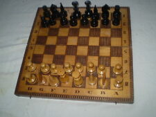 OLD   BLACK WHITE WOOD CHESS-SET-WOODEN BOX FOR CHESS AND BOARDS