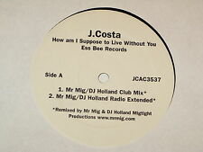 "J COSTA how am i supposed to live without you 12"" RECORD"