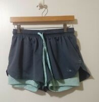 Champion Women's Shorts Size M Gray Blue Brief Lined Athletic Running Drawstring