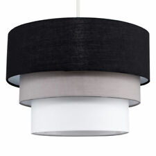 Black 3 Tier Round Modern Grey and White Fabric Ceiling Pendant Lamp Light Shade