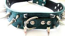 GreenFaux Crocodile Finish Punk Spike Studs Pet Collar Dog Collar L
