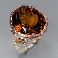 Cognac Quartz Ring Silver 925 Sterling IF 19x17 mm 25 ct Size 7.5 /R145876