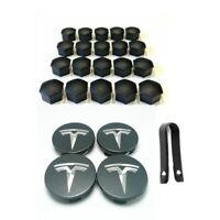 OEM Tesla Model 3 S X Aero Wheel Center cap (Dark Grey) and lug nut covers kit