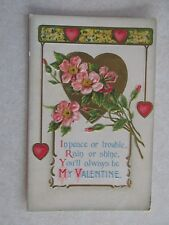 E242 Postcard My Valentine Hearts flowers rain or shine