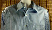Robert Talbot Carmel Cotton Shirt Striped Mens Button Dress LS Blue Size 17 34