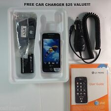 LG Prime GS390 SilverTouch Screen Prepaid Phone only AT&T Bundled CarCharger-New