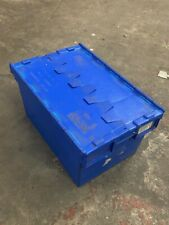More details for heavy duty plastic storage tote boxes 60 x 40 x 30cm folding lid pack of 10