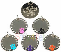 Dog ID Tag, Quality 30mm PET Tags Diamante Dog Paw Disc, ENGRAVING OPTIONS