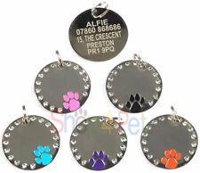 Dog ID Tag, Quality 30mm PET Tags Diamante Dog Paw Disc, ENGRAVING OPTIONS