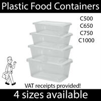 Plastic Food Containers & Lids Microwave & Freezer Safe Takeaway Meal Pots