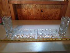 Fostoria by Avon, Glass, Two Mom Signs, Two Square Criss Cross Bud Vases