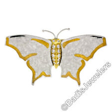 Michael Bondanza Platinum 18k Gold Diamond Textured Finish Butterfly Pin Brooch