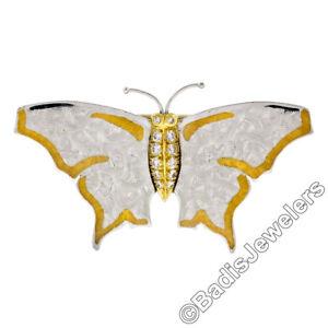 Michael Bondanza Platinum 18k Gold Diamond Textured Finish Butterfly Pin Brooch