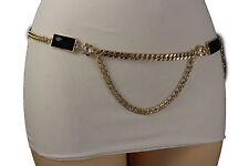 New Women Gold Metal Chains Hip Waist Fashion Belt Black Side Beads Size XS S M