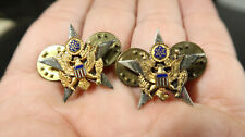 WWII US Army General Staff Matching Set Sterling Silver Collar Insignia