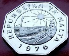 MIRROR SCARCE PROOF 1976 MALTA 25 CENTS  LOW MINTAGE MIRROR SURFACES