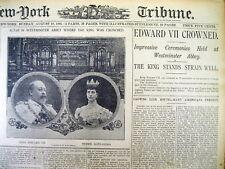<1902 headline disply newspaper EDWARD VII CROWNED KING OF ENGLAND Victoria Dead