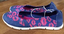 "Womens Mad Love Navy Pink Lips ""Lacey""  Slip On Comfort Flats Size 10 New"