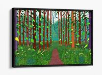 DAVID HOCKNEY 5-DEEP FLOATER/FLOAT EFFECT FRAMED CANVAS WALL ART PRINT-GREEN