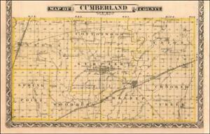 CUMBERLAND COUNTY, ILLINOIS MAP, Toldedo, Greenup, Neoga, Jewell, antique 1876