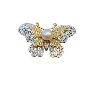 Baroque White freshwater 8.5-9mm pearl 3D Butterfly Brooch pendant 47x26mm BH69