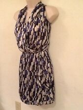 White House Black Market Blue Print Sleeveless Faux Wrap Dress,Sz 00,Excell Cond