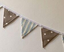 MINI Fabric Bunting Blue Stripe & Taupe Beige Dotty Boy Girl Baby Gift