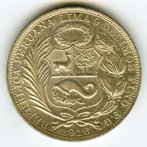 ☆ PERU 1916 ☆ 1 SOL • SILVER .900 • REPUBLICA PERUANA ☆ PLATA • KM#196.27 ☆C5376