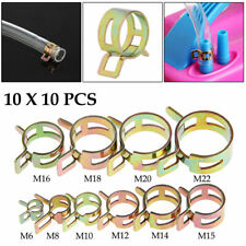100 Pcs 6-22mm Spring Clip Fuel Line Hose Water Pipe Air Tube Clamps Fastener