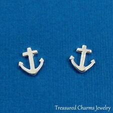 925 Sterling Silver Anchor Post Earrings - Marine Nautical Stud Earrings NEW