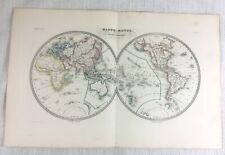 1846 Antique World Map Hemisphere Globe Rare Original Hand Coloured Engraving