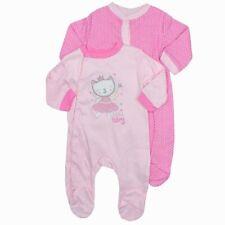 Baby Girls Bebe 2piece Pink 'Little Fairy' Cat Sleepsuits Cotton Babygrow 0-9Mth