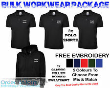 Personalised Embroidered Work Wear Package Full Zip Hoodie Polo Shirt Tshirt