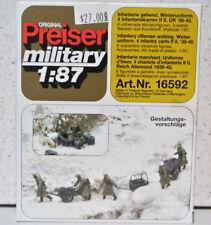 Preiser 16592 1/87 German Infantry Winter Clothing 1939-45 Unpainted Kit NIB
