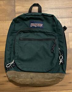 Vintage Green Jansport Backpack Leather Bottom Made in USA Book Bag School