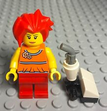 Lego Female Girl Mini Figure With Red Spike Hair And House Home Vacuum Utensil