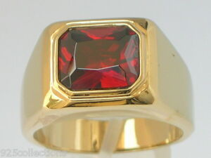 11 X 9 mm Solitaire January Red Garnet CZ Birthstone Men Ring Size 7-15