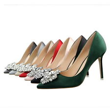 Women's High-Heeled Bling Rhinestones Evening Dress Pointed Shoes Pumps Classics