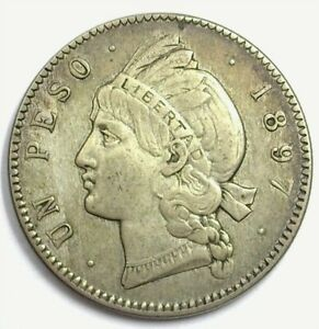 DOMINICAN REPUBLIC 1897 SILVER PESO CHOICE ABOUT UNCIRCULATED VERY RARE!
