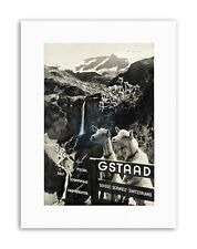 GSTAAD SWITZERLAND ALPINE RESORT GOAT WATERFALL Poster Travel Canvas art Prints